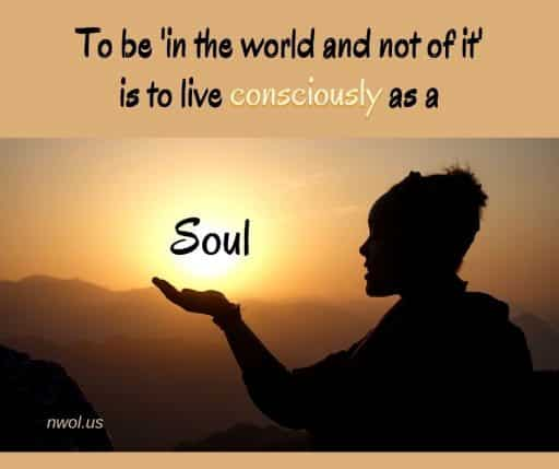 To be 'in the world and not of it' is to live consciously as a Soul.