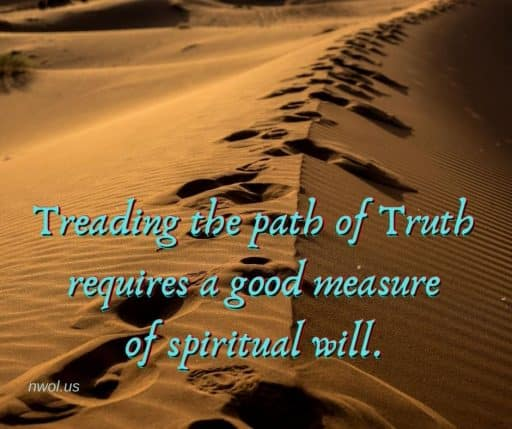 Treading the path of Truth requires a good measure of spiritual will.