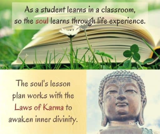 As a student learns in a classroom, so the soul learns through life experience. The soul's lesson plan works with the Laws of Karma to awaken the inner divinity.