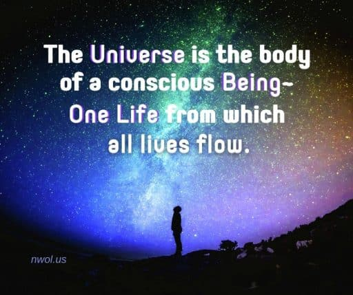 The Universe is the body of a conscious Being—One Life from which all lives flow.