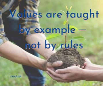 Values are taught by example