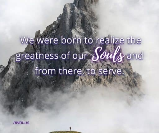 We were born to realize the greatness of our Souls and from there to serve.