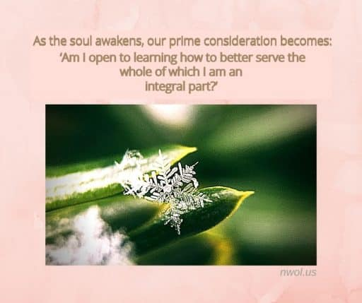 As the soul awakens, our prime consideration becomes: 'Am I open to learning how to better serve the whole of which I am an integral part?'