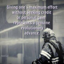 Giving maximum effort without seeking credit