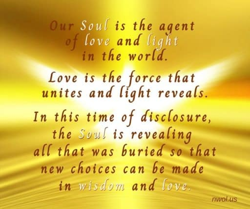 Our Soul is the agent of love and light in the world. Love is the force that unites and light reveals. In this time of disclosure, the soul is revealing all that was buried so that new choices can be made in wisdom and love.