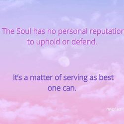 The Soul has no personal reputation to uphold or defend