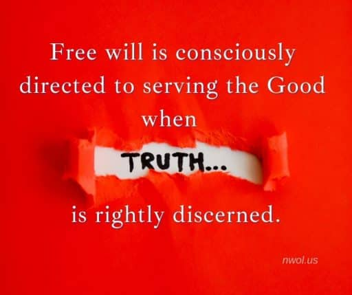 Free will is consciously directed to serving the Good when discernment of truth is adequately developed.