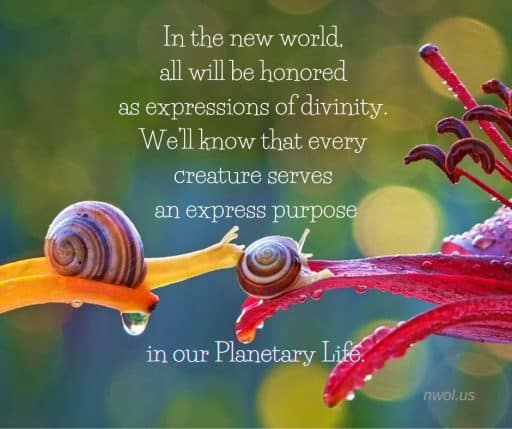 In the new world all will be honored as expressions of divinity. We'll know that every creature serves an express purpose in our Planetary Life.