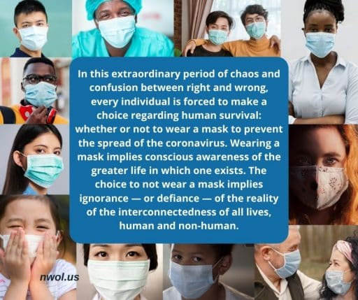 In this extraordinary period of chaos and confusion between right and wrong, every individual is forced to make a choice regarding human survival: whether or not to wear a mask to prevent the spread of the coronavirus. Wearing a mask implies conscious awareness of the greater life in which on exists. The choice to not wear a mask implies ignorance—or defiance—of the reality of the interconnectedness of all lives, human and non-human.