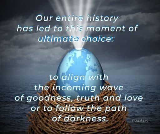 Our entire history has led to this moment of ultimate choice based on the exercise of free will: to align with the wave of goodness, truth and love or to follow the path of darkness.