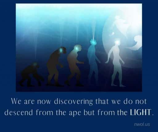 We are now discovering that we do not descend from the ape but from the Light.