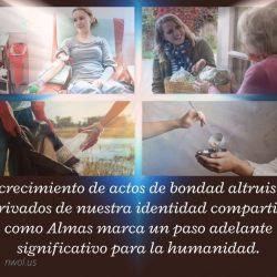 El crecimento de actos de bondad altruistas