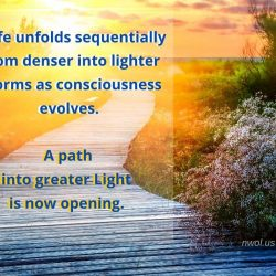 Life unfolds sequentially from denser to lighter forms as consciousness evolves