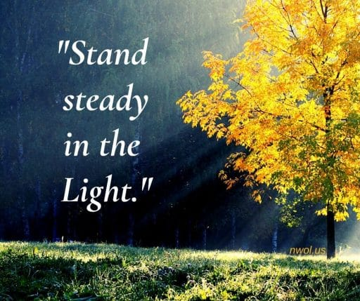 Stand steady in the light.