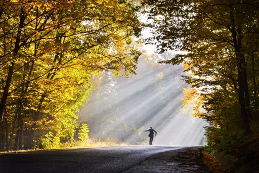 Man with arms open towards morning sunlight rays