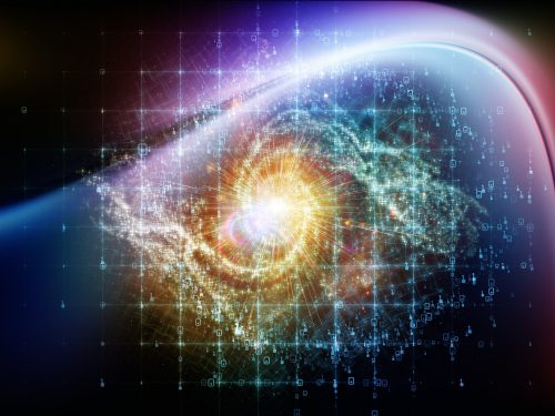 Math Universe series. Composition of digits and elements of space with metaphorical relationship to mathematics, science, education and modern technology