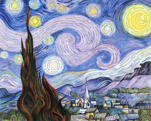 Van Gogh's The Starry Night adult coloring page