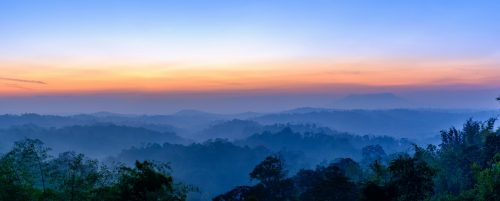 Panorama View before sunrise at Nam Nao National Park in Thailand.