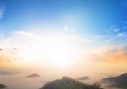 Sunrise sunset sky background of Mount Zion and Mount of Olives